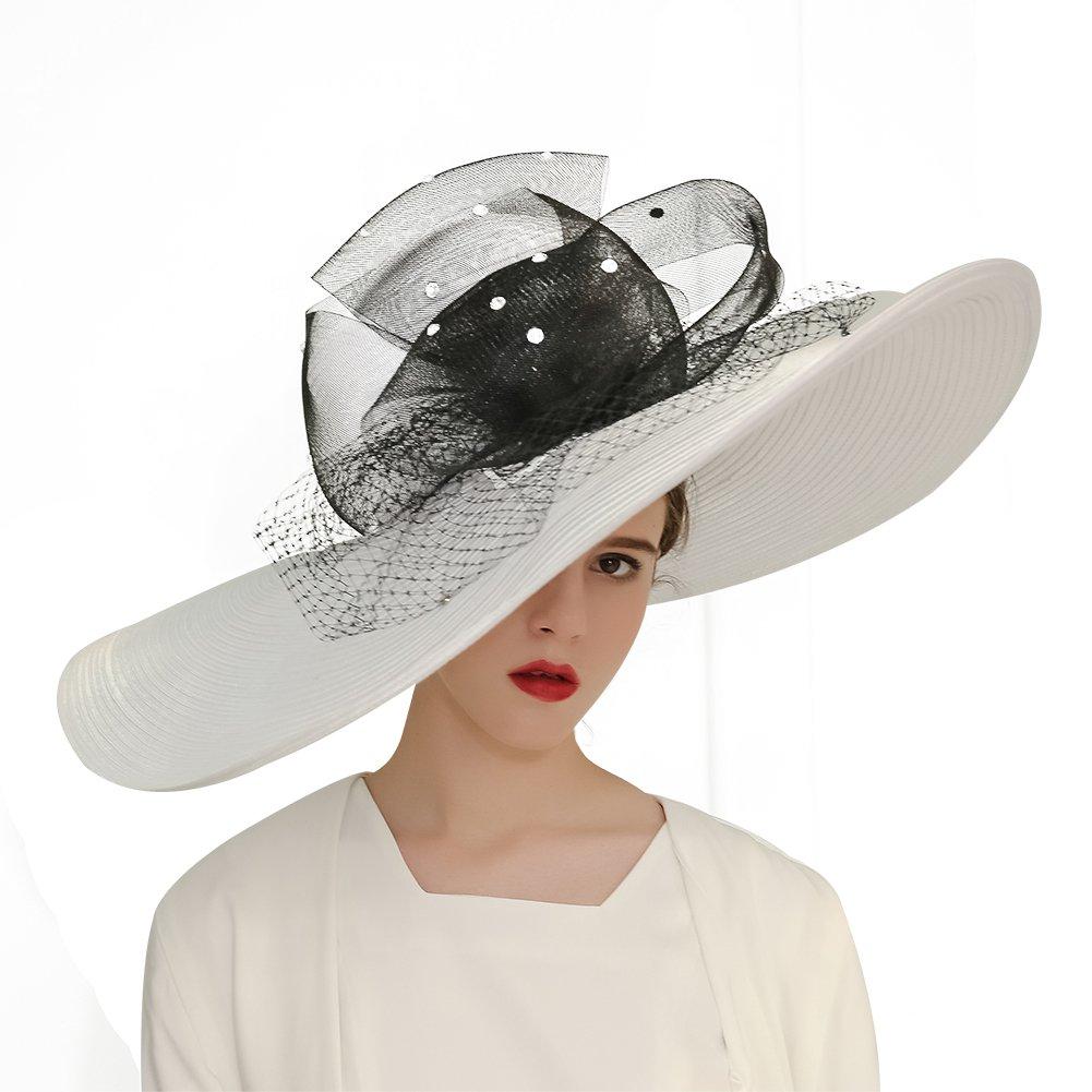 KUEENI Women Hats Church Hats Exaggeration Designer Fashion Lady Wide Brim Hats (White) by KUEENI (Image #3)