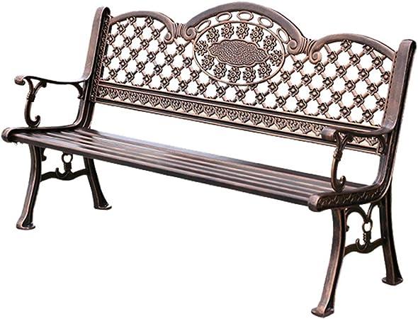 XLOO Banco de Exterior de Aluminio, Banco de jardín de Patio, loveseats, decoración de Muebles de Patio de Parque, Estructura de Aluminio Fundido: Amazon.es: Hogar