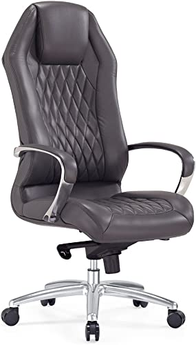 Modern Ergonomic Sterling Leather Executive Chair with Aluminum Base- Dark Grey