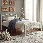 Merax Stylish Design Solid Metal Platform Bed Frame with Headboard and Footboard White (Twin)