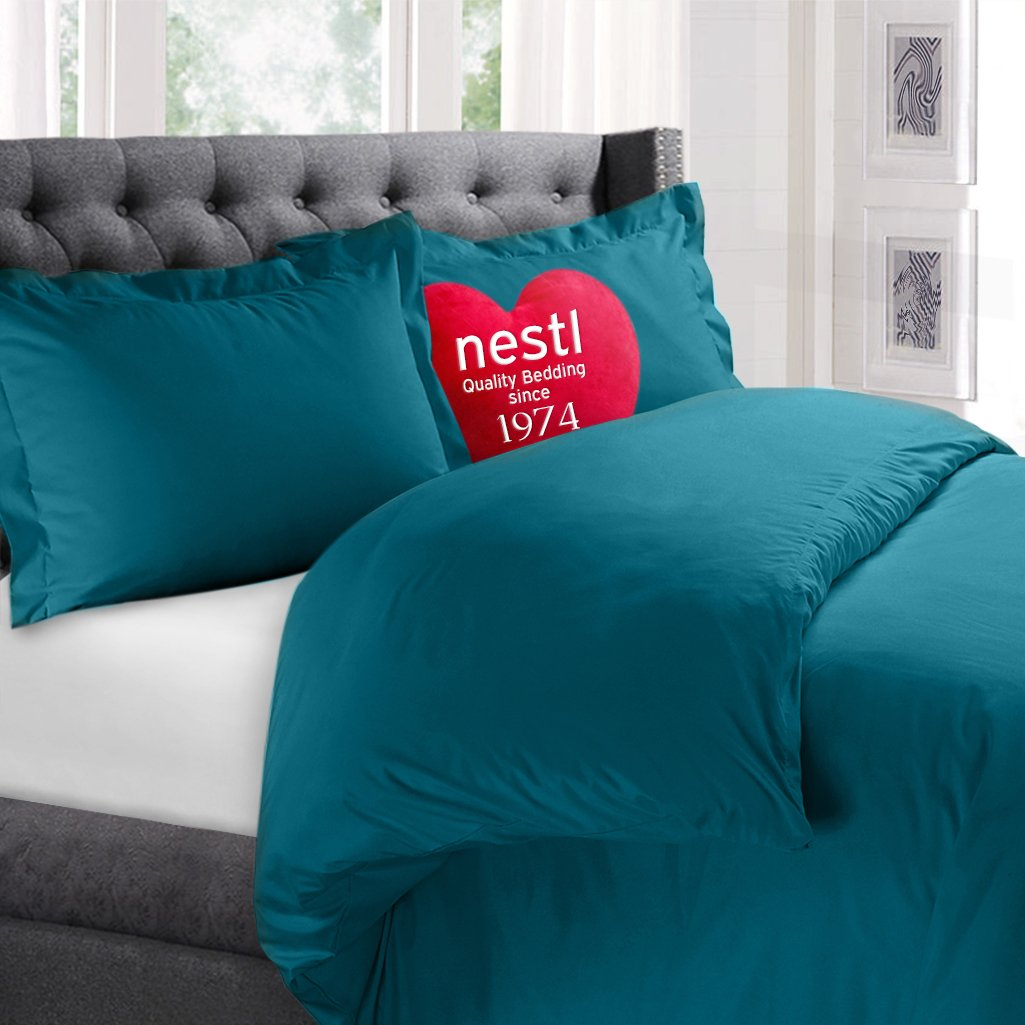 Nestl Bedding Duvet Cover, Protects and Covers your Comforter / Duvet Insert, Luxury 100% Super Soft Microfiber, Queen Size, Color Teal, 3 Piece Duvet Cover Set