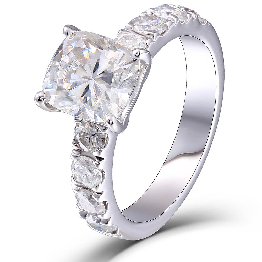 2.8ctw 7x8MM H Color Cushion Cut Moissanite Engagement Rings 925 Sterling Silver for Women (7)