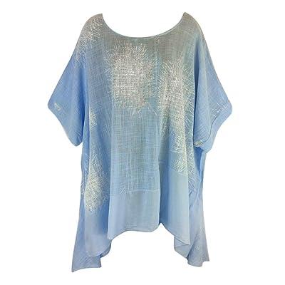 👚👚👚Tallas Grandes Mujer Manga Corta ImpresióN Camisetas De AlgodóN Y Lino Tops Blusas-Camisas De Mujer Elegante- Camisa Desigual-Tops Cruzados: Ropa y accesorios