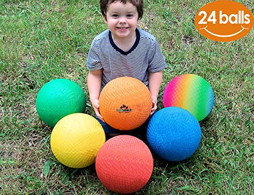 (ToysOpoly Playground Balls 8.5 inch Dodgeball (Set of 24) Kickball for Kids and Adults - Official Size for Dodge Ball, Handball, Camps and Smart School + Free Pump & Mesh Bag )