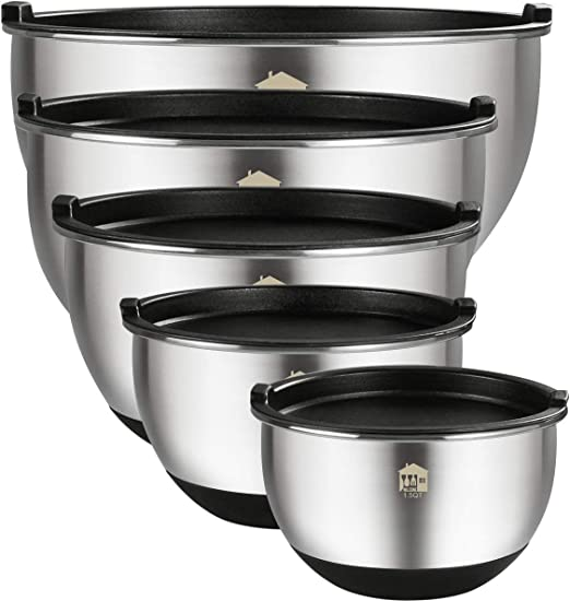 Mixing Bowls Set of 5, Wildone Stainless Steel Nesting Mixing Bowls with Lids, Measurement Lines & Silicone Bottoms, Size 8, 5, 3, 2, 1.5 QT, Non-Slip ...