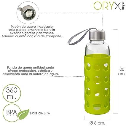ORYX 5075050 Botella Agua de Cristal con Funda Goma y Tapón An, Plateado