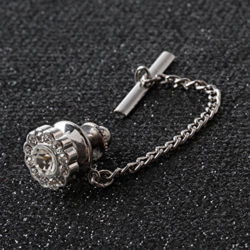 Digabi Men's Jewelry Flower 10mm Tie Tack With Chains and Clutch Back Glittering Rhinestone and Clear Crystal Tie Clip Button Color Options by Digabi (Image #4)