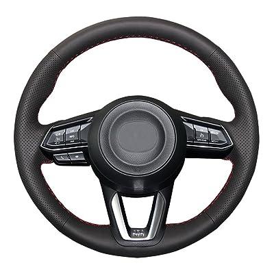 Eiseng DIY Black Genuine Leather Steering Wheel Cover Custom Fit for 2020 2020 Mazda 3/2020 2020 2020 Mazda CX-5 Mazda 6/2016-2020 Mazda CX-9/2020 CX-3 15 inch Interior Accessories (Red Thread): Automotive