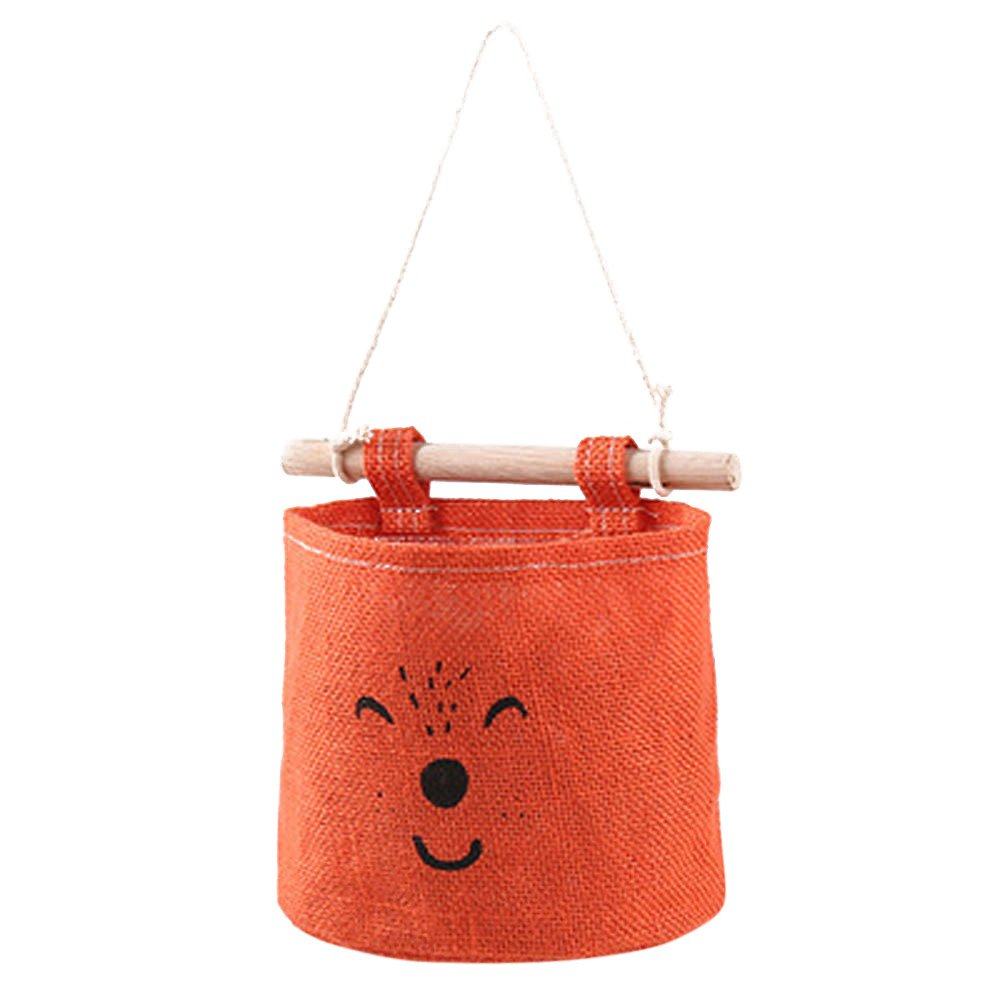 Wall Hanging Storage Bag Basket or Bin, Further Reductions! E-Scenery Foldable Storage Cube Containers Organizers for Home Makeup, Small Items, Toys, Office, Stationery, 7 x 4 x 7 inches (Orange)