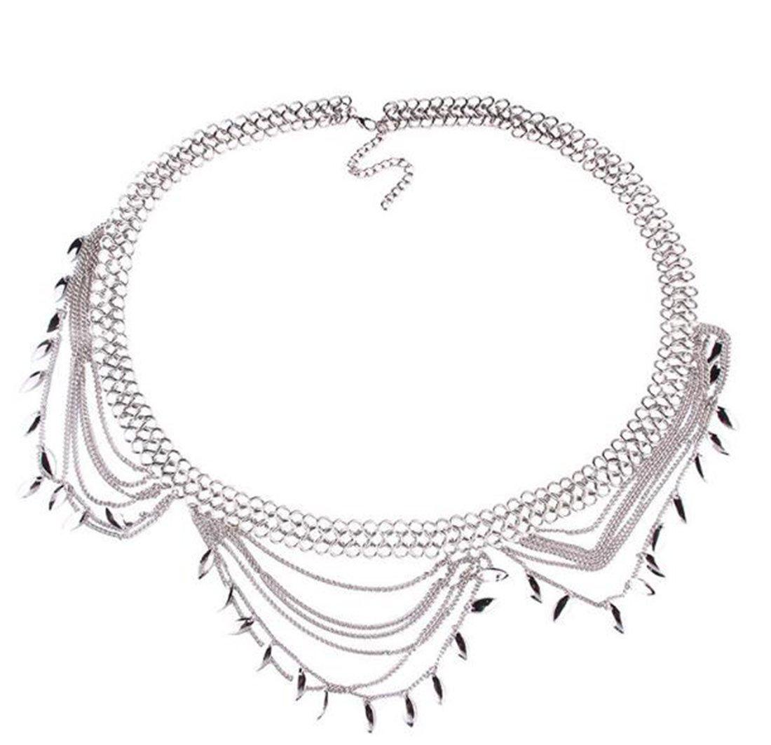 Andyle Dangle Coin Belt Dance Tassel Adjustable Waist Chain Belt Gypsy Bohemian For Women (Style2 (Silver))