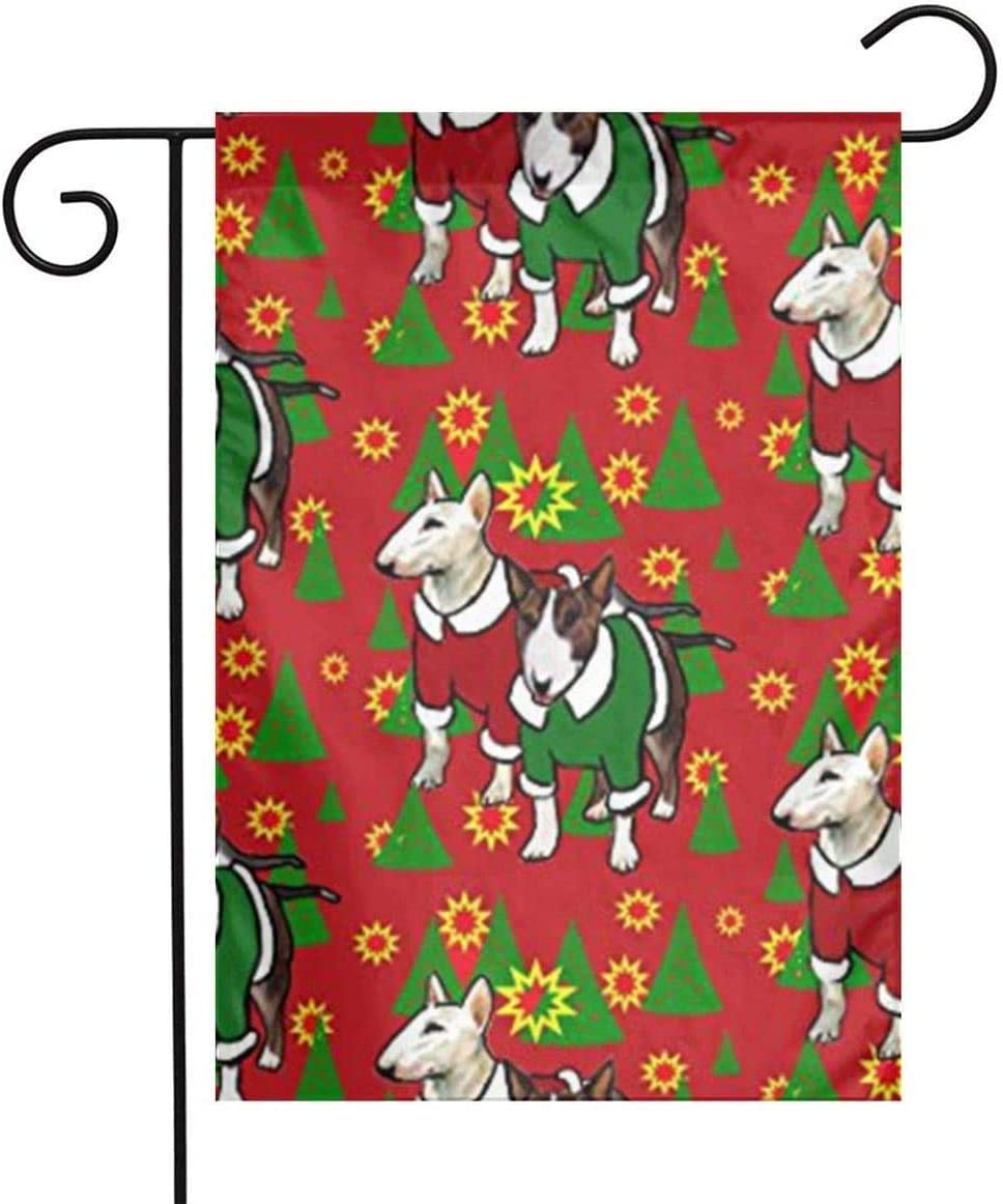 JUCHen Bull Terrier Christmas 12 X 18 Inches Double Sided Decorative Garden Flag Decorate for Outdoor Yard Garden