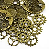25pc Steampunk Gears, Charms, Antique Bronze