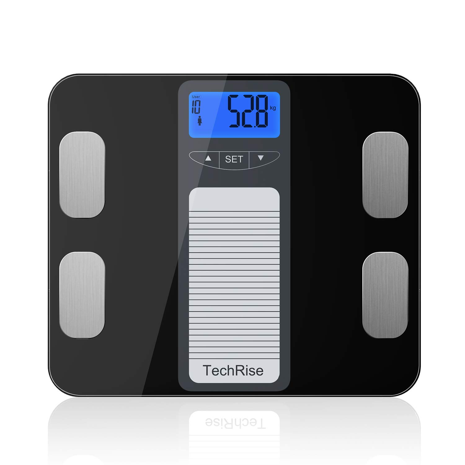 Body Fat Scale, TechRise Digital Body Fat Bathroom Scales, Smart Weighing Scale, 10-User Auto Recognition, Body Composition for Weight, BMI, Body Hydration, Muscle, Bone Mass and Calorie Intake