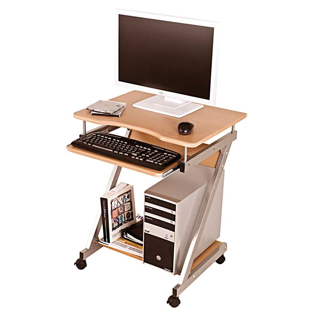 Pharao24 Computertisch Buche rollbar Flexo