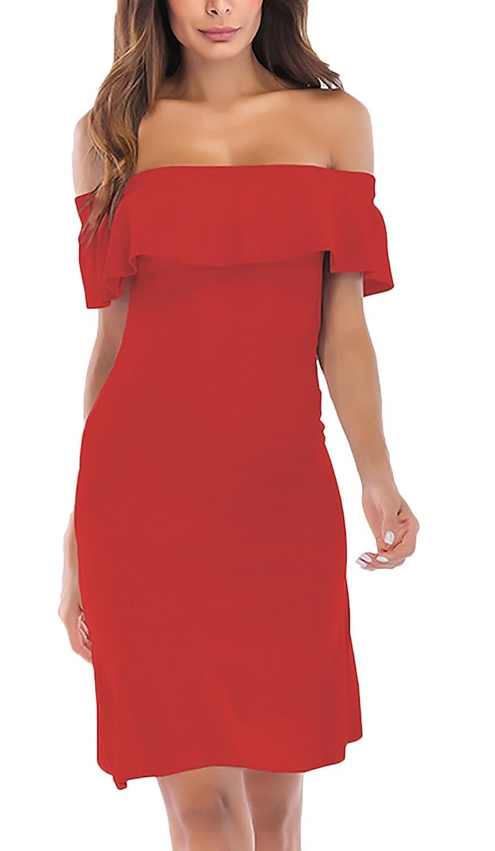 Vestidos De Fiesta Mujer Verano Elegantes con Volantes Barco Cuello Hombros Descubiertos Fiesta Dresses Señoras Color Sólido Slim Moda Joven Vestido Coctel ...