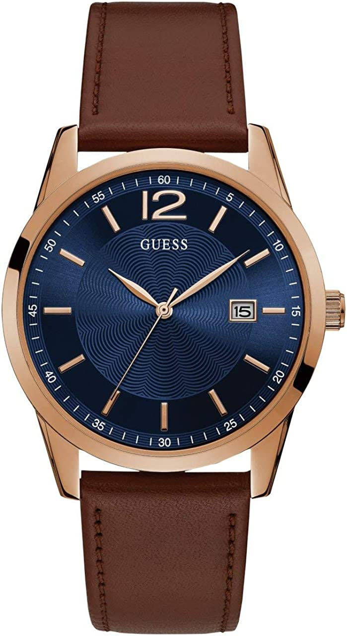 GUESS Brown Blue Genuine Leather Watch with Date Function. Color Brown Model U1186G3