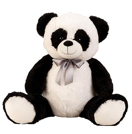 Geschenkestadl XL Panda Bär mit Schleife Teddybär 80 cm Kuschelbär Kuscheltier Stofftier Pandabär Teddy
