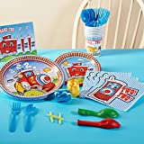 2nd Birthday Train Party Supplies - Basic Party Pack for 16