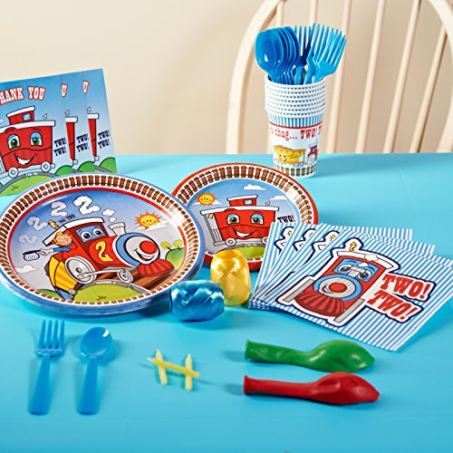 2nd Birthday Train Party Supplies - Basic Party Pack for 16 & Train Paper Plates: Amazon.com