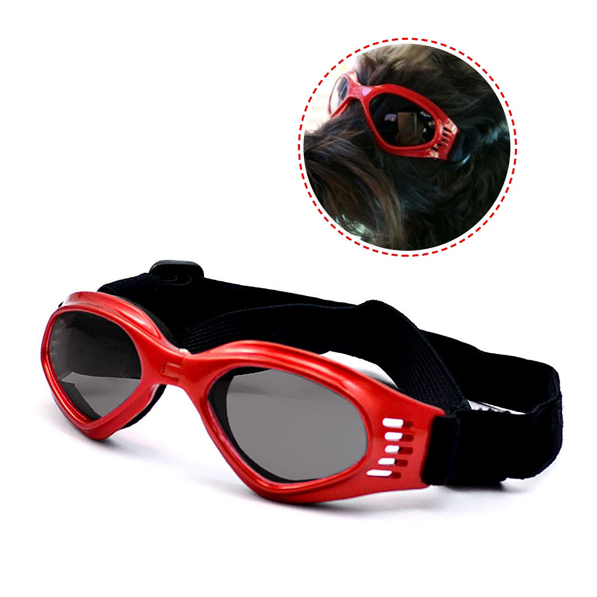 Enjoying Pet/Dog Puppy UV Goggles Sunglasses Waterproof Protection Sun Glasses For Dog - Red by Enjoying