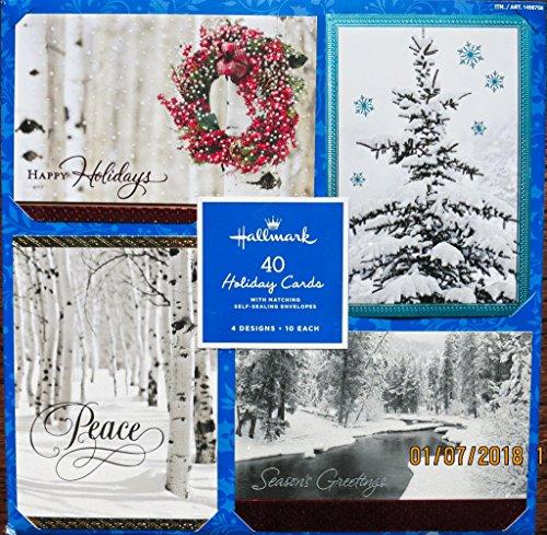 (Hallmark Christmas Cards with Envelopes ~ 4 Design ~ 40 cards (Thomas Kinkade) (Snow White))