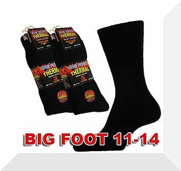 3 pares de calcetines térmicos para hombre, Black Big Foot 11-14: Amazon.es: Deportes y aire libre