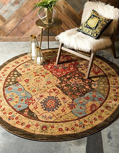 Unique Loom Edinburgh Collection Oriental Traditional French Country Multi Round Rug (8' 0 x 8' - Area 8 Multi Round Rug