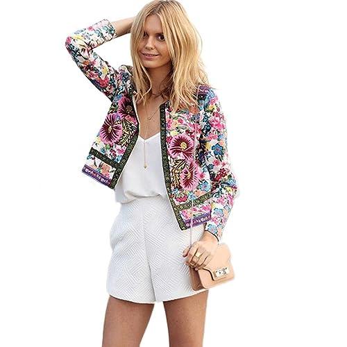 RETUROM nuevo estilo de la moda de las mujeres impresas florales chaqueta corta de manga larga de ab...