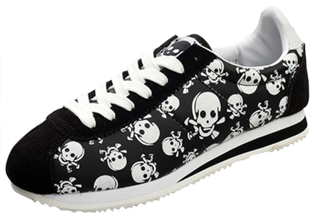 Serene Womens Retro Low-Top Suede Skull Lace-up Walking Running Shoes Casual Fashion Sneakers (6B(M) US, Black)
