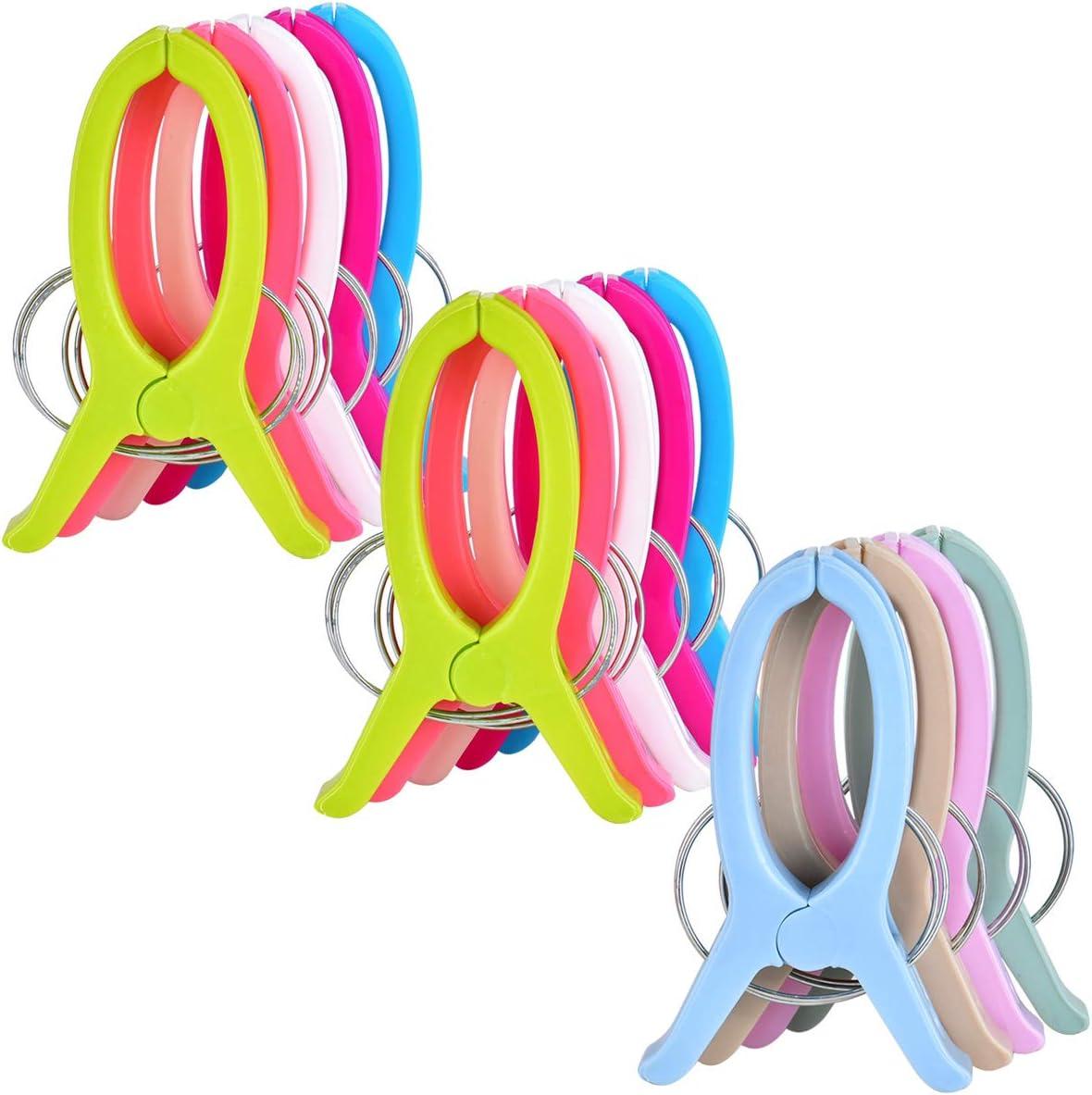 Cozywind 14pcs Grandes Pinzas Toalla Playa Clips de Plástico Fuerte Resistente a Viento para Sillas de Playa,Tumbona, Casa, Coche, Piscina, Coloreado.