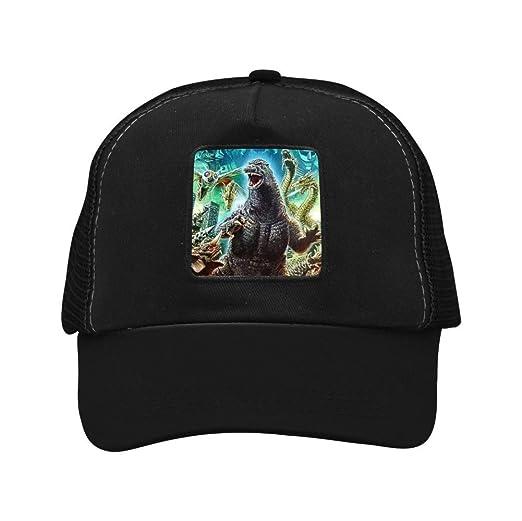 99a699623 XiuHongShangMAo Godzilla 3D Printing Adjustable Unisex Snapback Trucker Hat  Mesh Cap Black