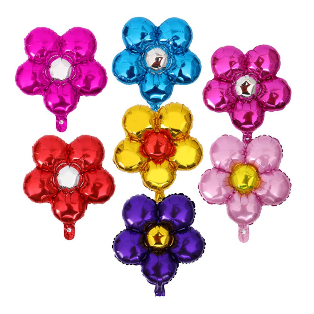 Momangel 2Pcs Cute Flower Aluminum Foil Balloons Birthday Wedding Party Supplies Decor Blue