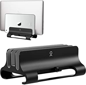 BECROWMUS Vertical Laptop Stand, Triple Slot Desktop Stand Holder with Adjustable Dock (Up to 18 inch), Fits All MacBook/Surface/Samsung/HP/Dell/Chrome Book Black