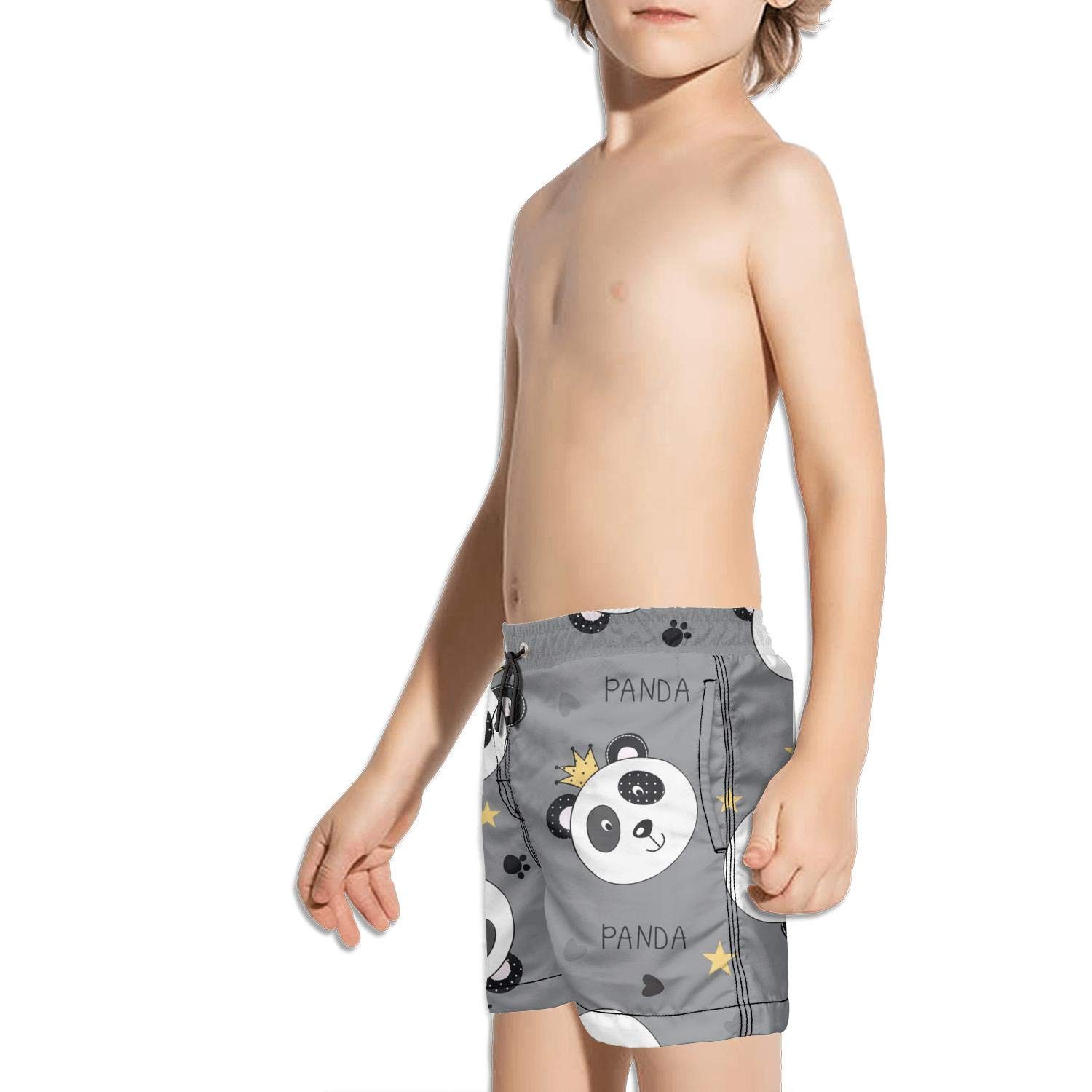 Voslin Kids Unisex Black Bear Astronaut Moon Beach Swim Trunks Quick Drying Drawstring Shorts