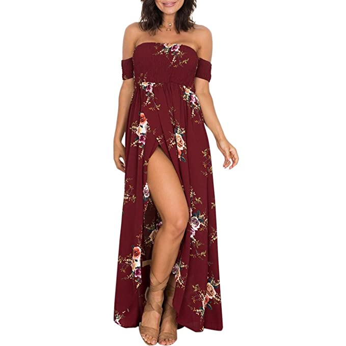 cffb7f62cab8 Hijing Women Summer Boho Off Shoulder Long Maxi Casual Dresses Slit Split