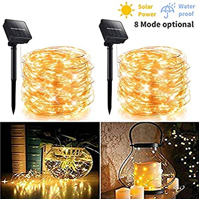 2 Pack 100 LED 8 Modes Copper Wire Waterproof Solar Fairy String Lights,Warm White