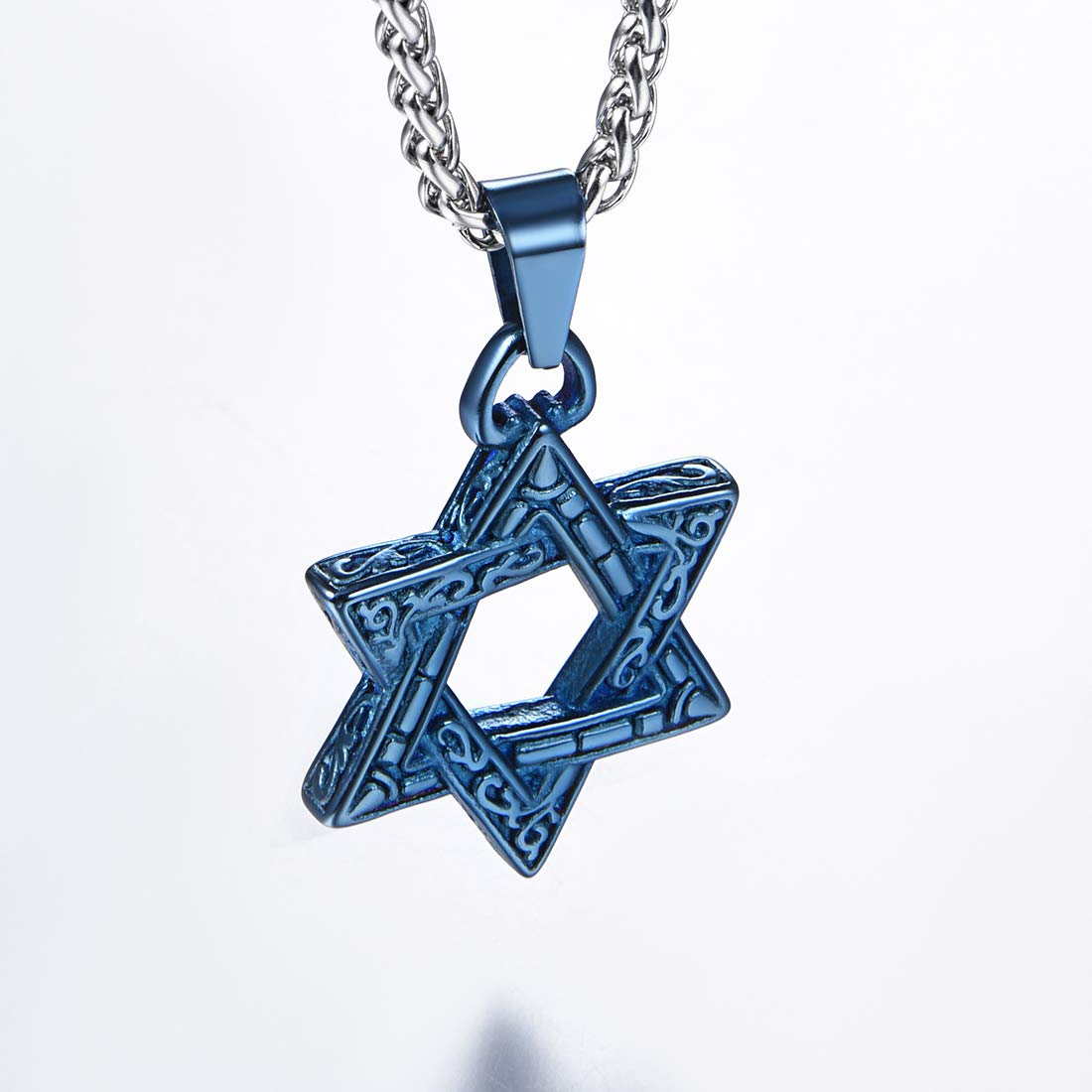 U7 Star of David Necklace with Free Chain Men Women Amulet Stainless Steel 18K Gold Plated Jewish Jewelry Israel Necklace