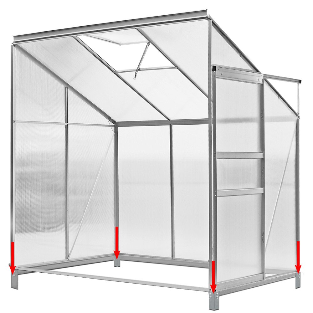 Greenhouse side tables - 2.30 m² Aluminium Base Steel Base Garden Plant-House lean to Greenhouse Deuba