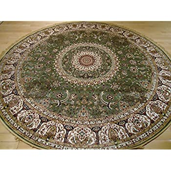 Stunning Green Silk Rug Persian Area Rugs 6x6 Round Shape Rugs Foyer Circle  Rugs Dining Room Round Shape Green Rugs Traditional Green Rugs (Round Shape  6 ...