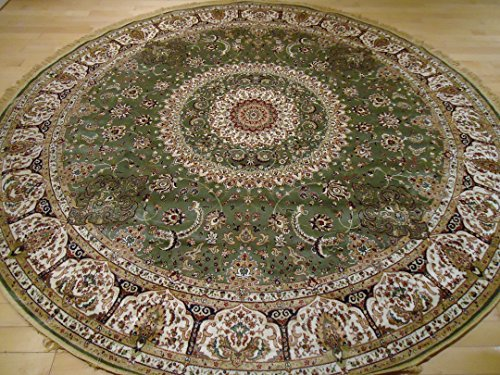 Stunning Green Silk Rug Persian Area Rugs 8x8 Circle Rugs Fo