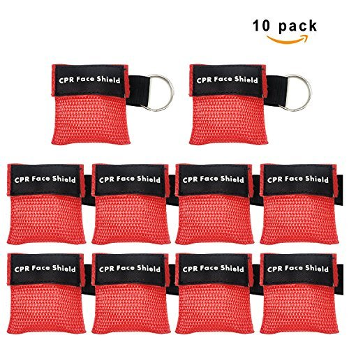 Keychain Barrier (Defler [10 Pack] CPR Mask Keychain Ring Emergency Kit Rescue Face Shields with One-way Valve Breathing Barrier for First Aid or AED Training)