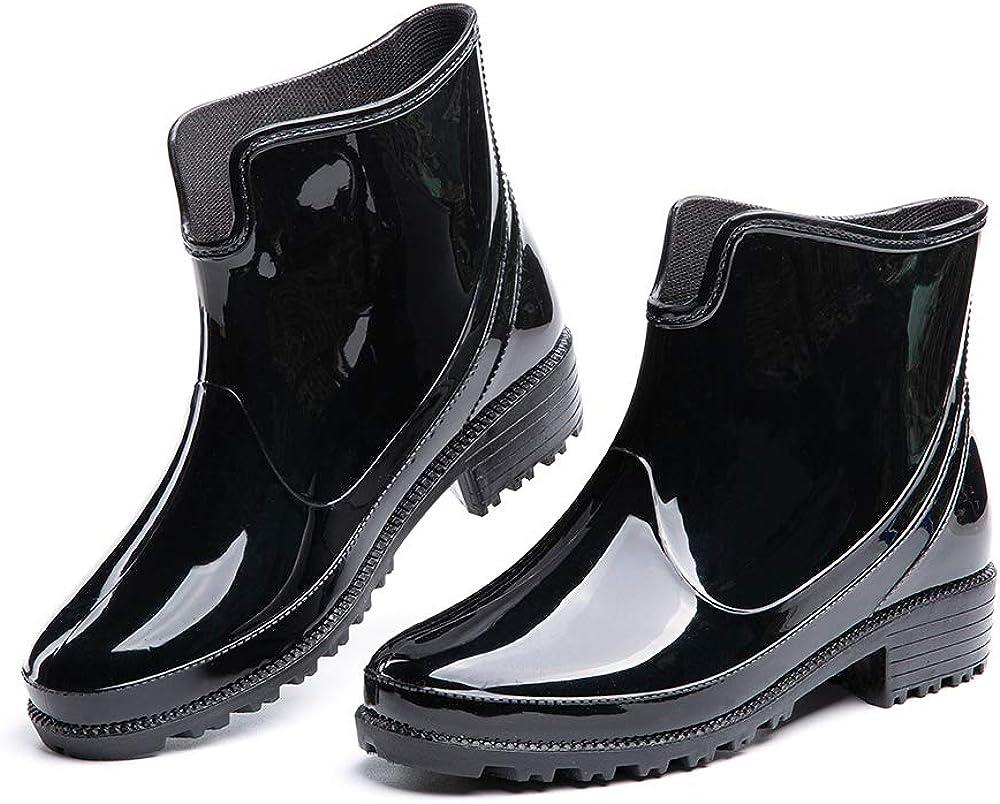 Botas de Agua Mujer Lluvia Botines Jard/ín Trabajo Antideslizante Tobillo Boots Chelsea Negro Marr/ón Azul Caqui N/úmero 35-42 EU