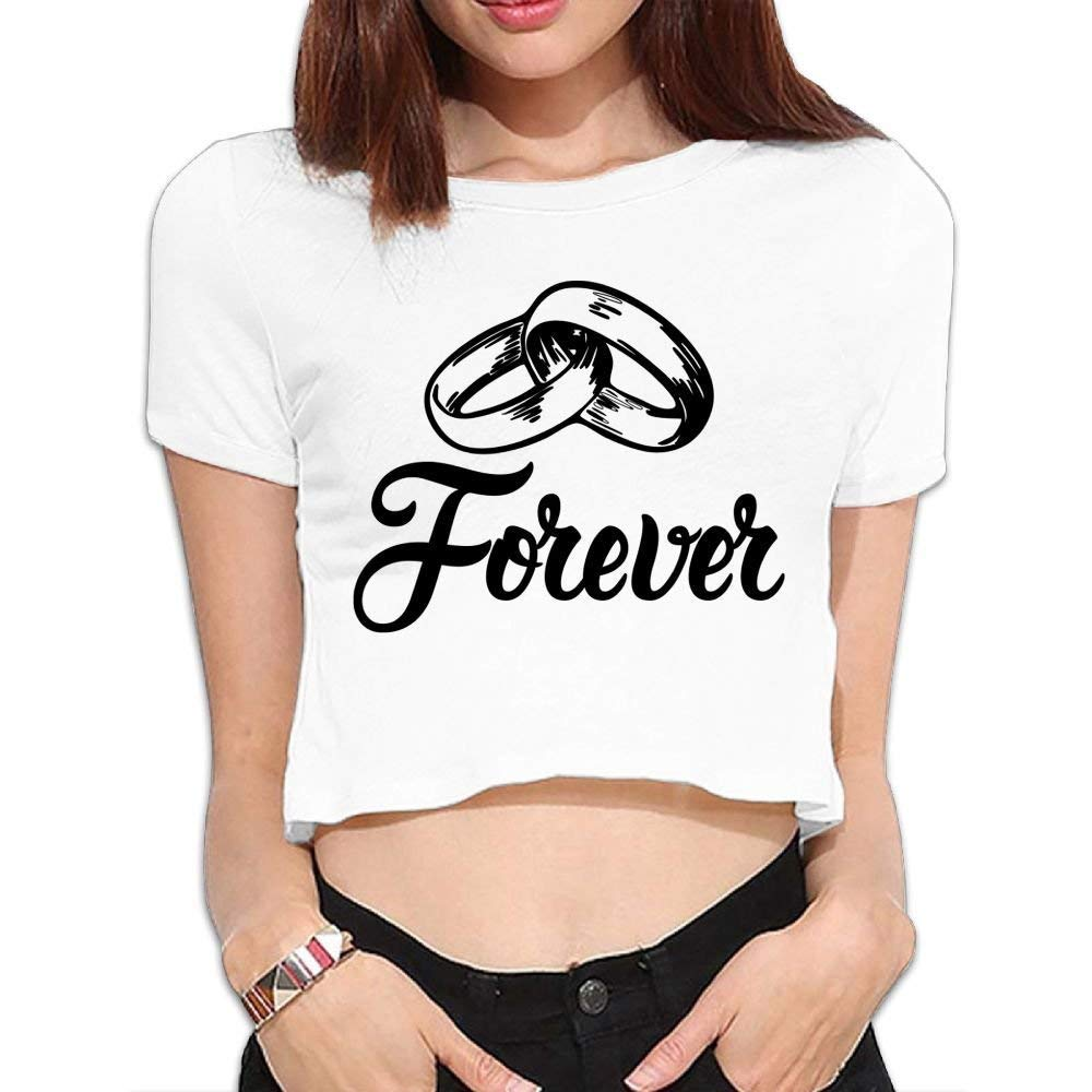 BHRETI Women Exposed Navel T-Shirts Sexy Forever Wedding Bands Funny