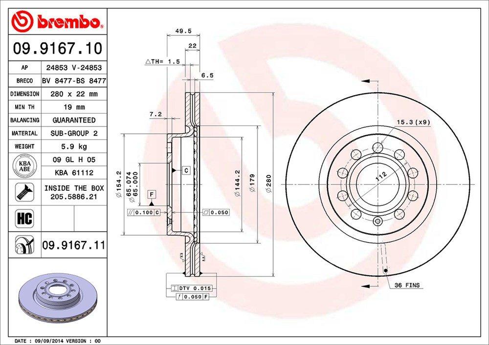 Set of 2 Brembo 09.9167.11 Front Uv Coated Brake Disc