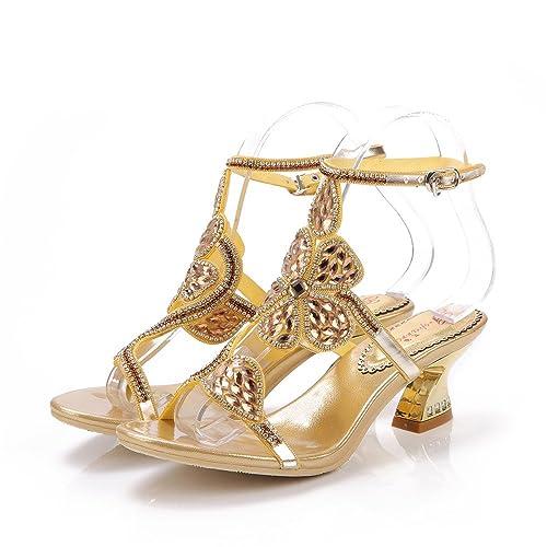 Chunky Heel Wedding Shoes   Amazon Com Unicrystal Women S Rhinestone Crystal Sandals Wedding