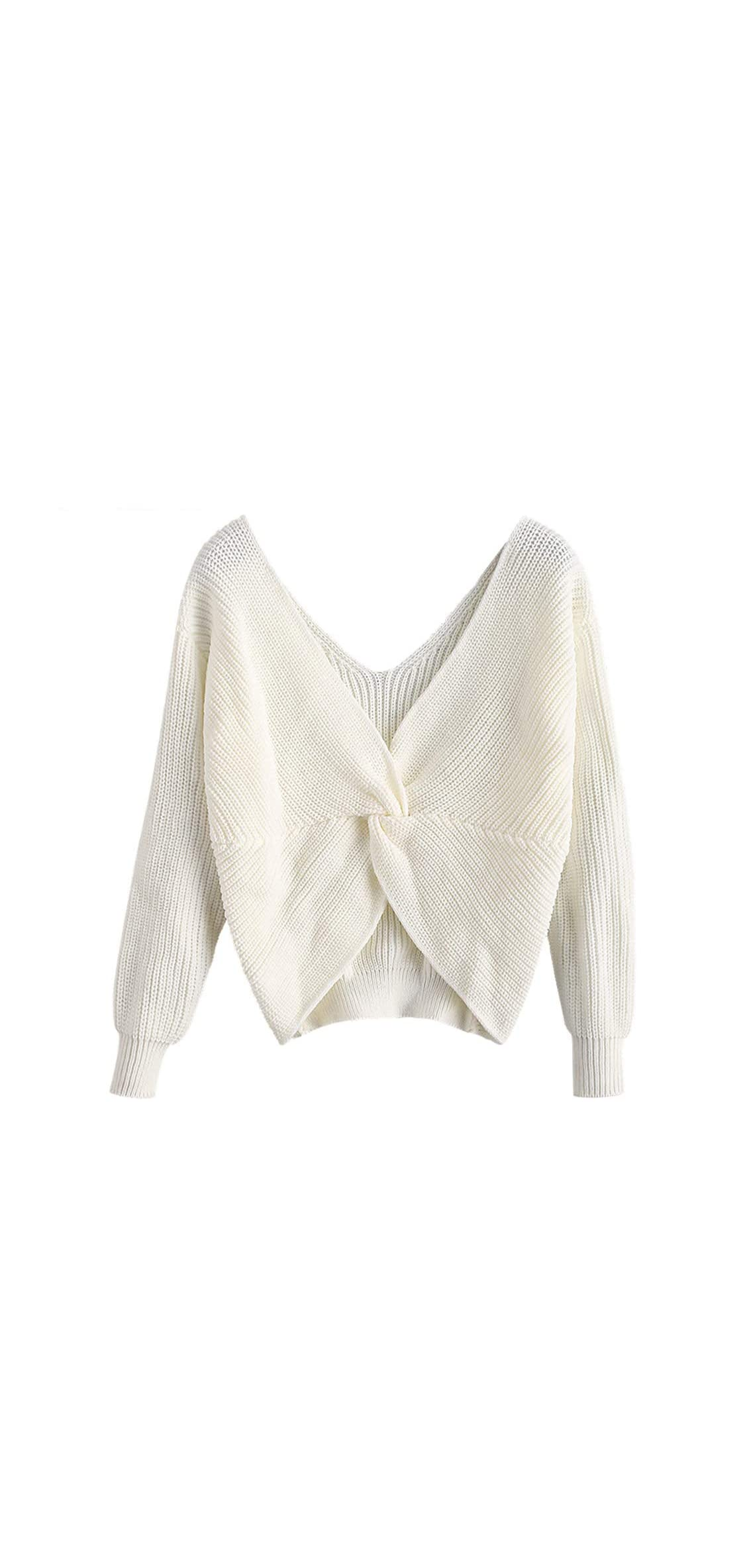 Women's V Neck Twist Back Pullover Sweater Long Sleeve