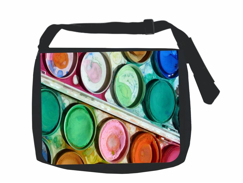 Watercolors with Paintbrush Flat Print Design School Messenger Bag and Pencil Case Set Jacks Outlet Inc