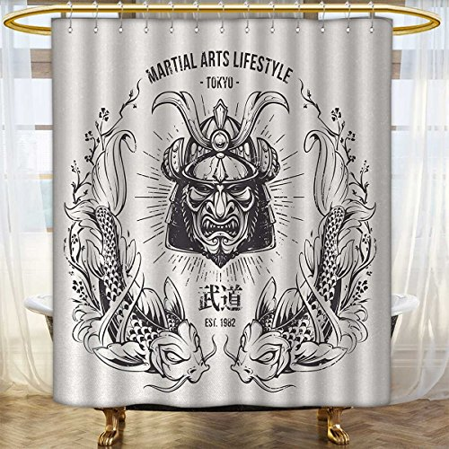 Anhounine Asian Shower curtains sets bathroom Traditional Japanese Samurai Mask Koi Fish Martial Arts Lifestyle Tokyo Typography Bathroom Accessories 72