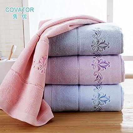 ZHFC Clasico flor toalla algodón suave par de la boda toalla regalo regalo bordado toallas 34 * 76cm,1 piezas de Pink Face towel: Amazon.es: Hogar