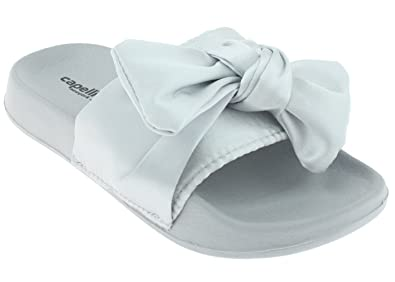 3ae2d2e0098 Capelli New York Girls Slide with Satin Bow Trim Silver 1 2